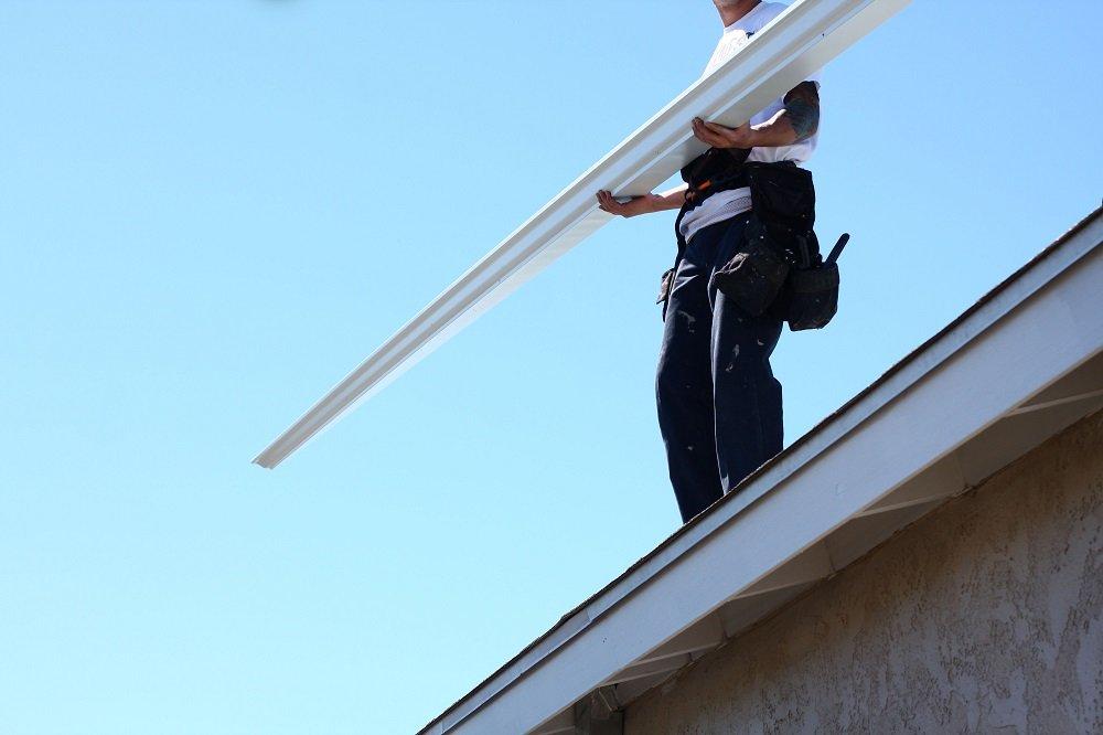 Gutter being installed